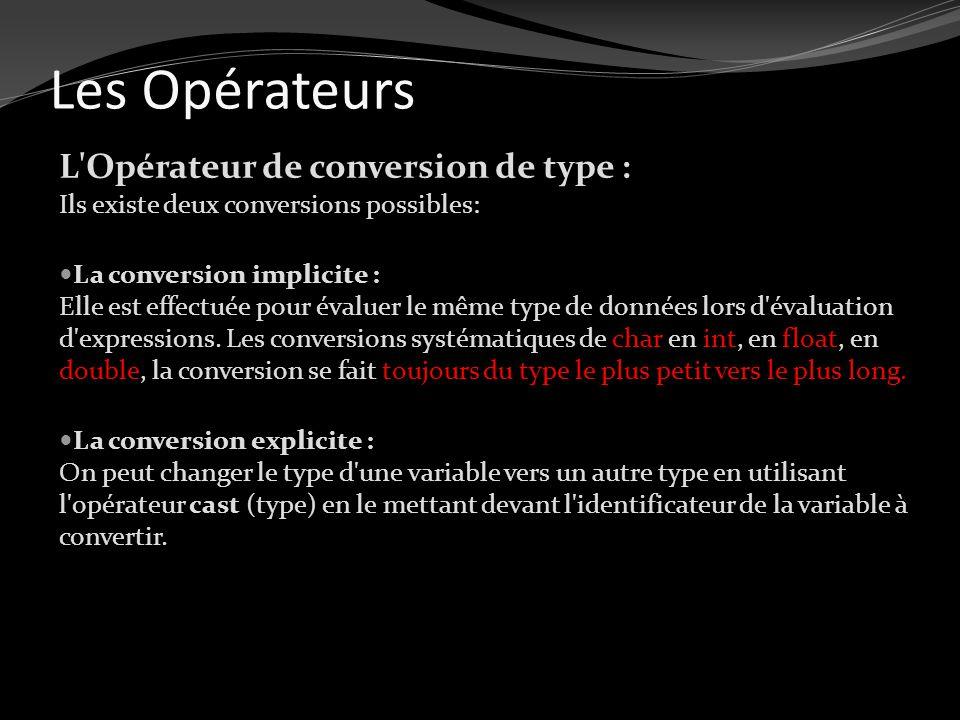 Les Opérateurs L Opérateur de conversion de type : Ils existe deux conversions possibles: