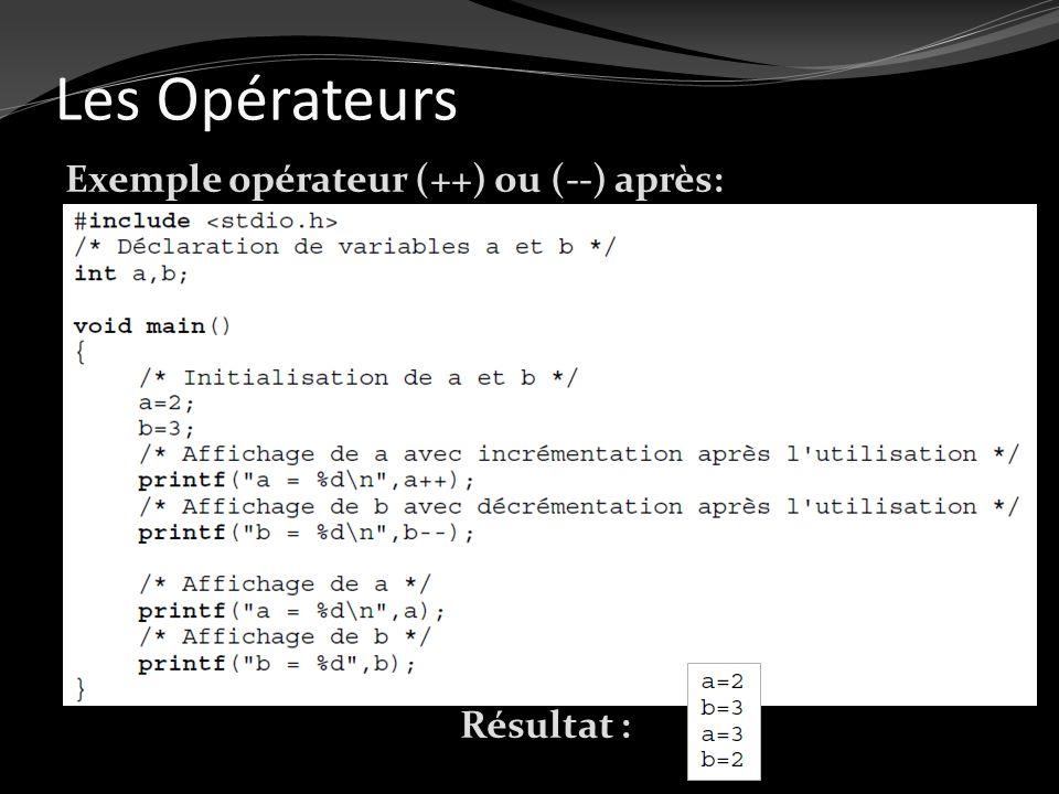 Les Opérateurs Exemple opérateur (++) ou (--) après: Résultat :