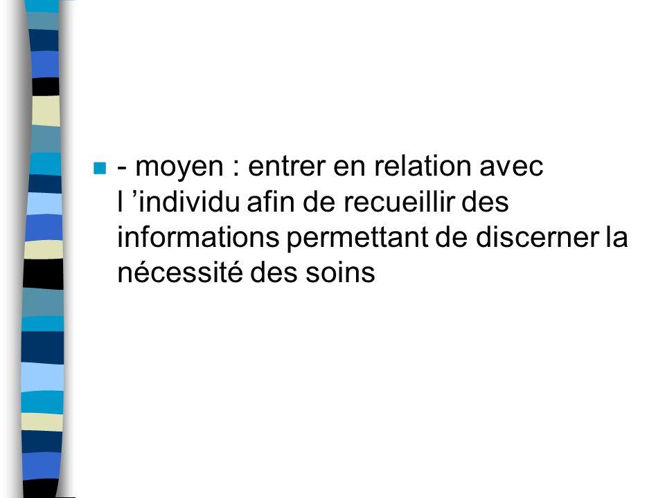 - moyen : entrer en relation avec l 'individu afin de recueillir des informations permettant de discerner la nécessité des soins