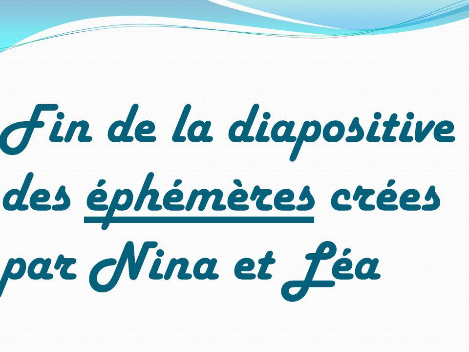 Fin de la diapositive des éphémères crées par Nina et Léa