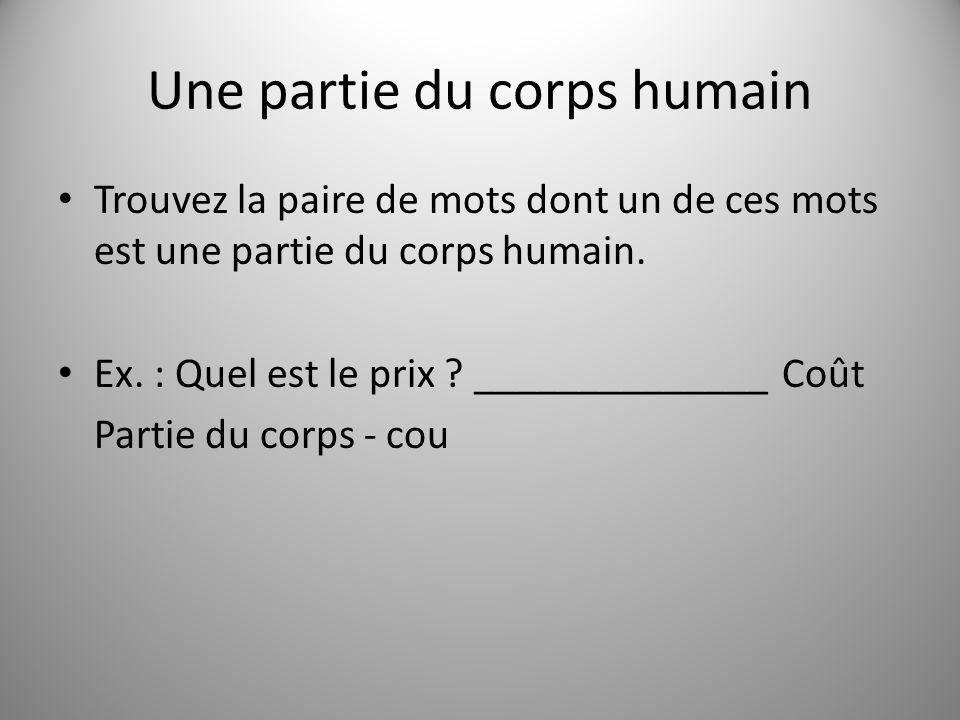 Une partie du corps humain