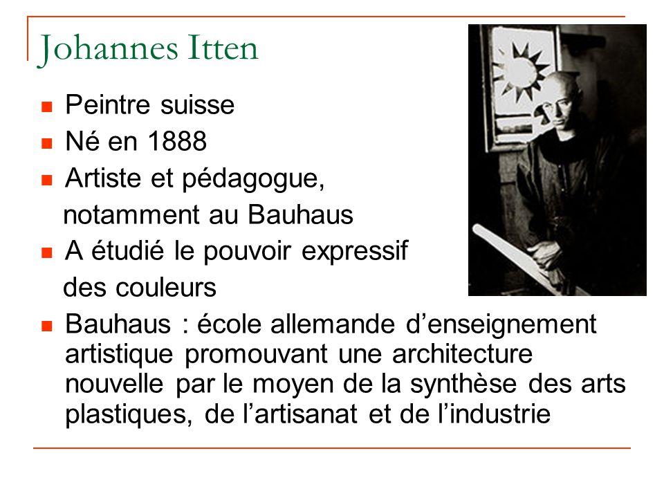 Johannes Itten Peintre suisse Né en 1888 Artiste et pédagogue,