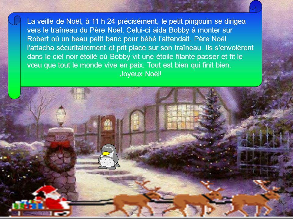 La veille de Noël, à 11 h 24 précisément, le petit pingouin se dirigea vers le traîneau du Père Noël. Celui-ci aida Bobby à monter sur Robert où un beau petit banc pour bébé l'attendait. Père Noël l'attacha sécuritairement et prit place sur son traîneau. Ils s'envolèrent dans le ciel noir étoilé où Bobby vit une étoile filante passer et fit le vœu que tout le monde vive en paix. Tout est bien qui finit bien.