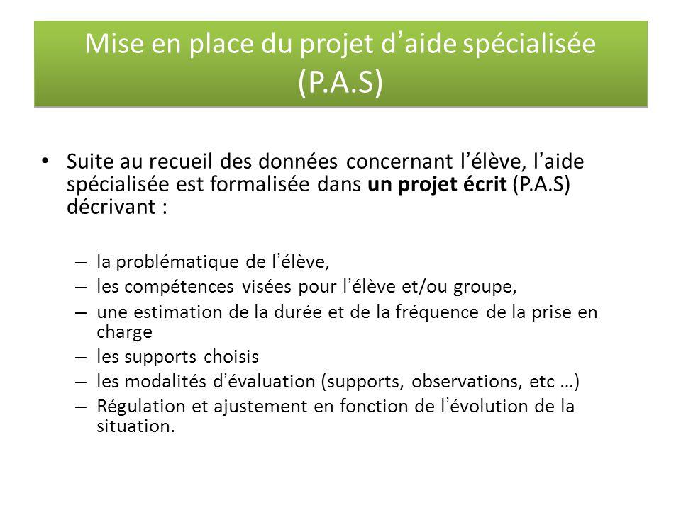 Mise en place du projet d'aide spécialisée (P.A.S)