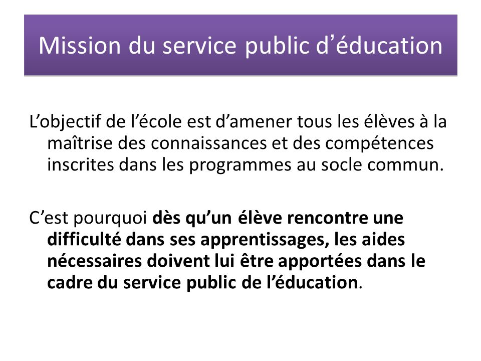 Mission du service public d'éducation