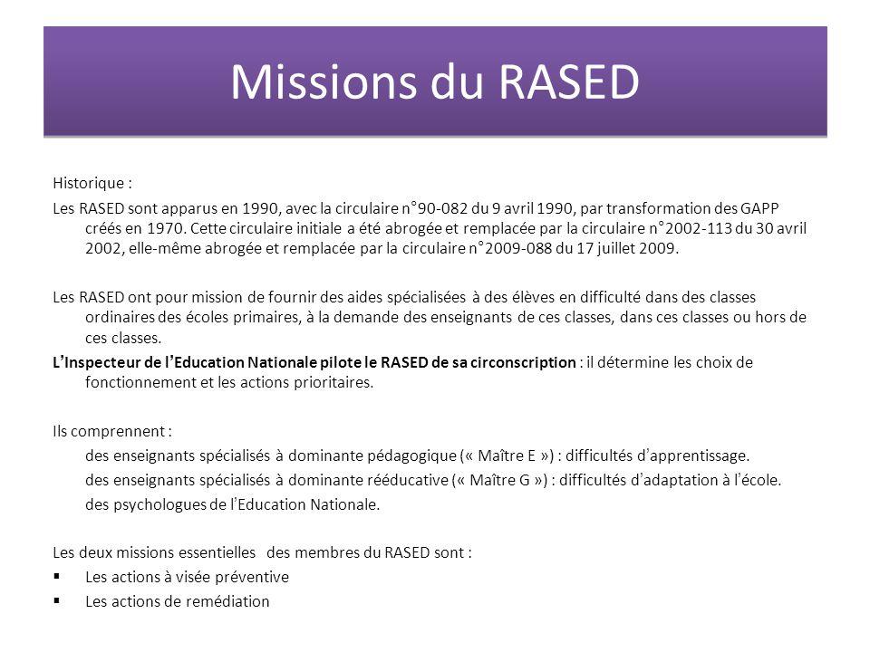 Missions du RASED Historique :