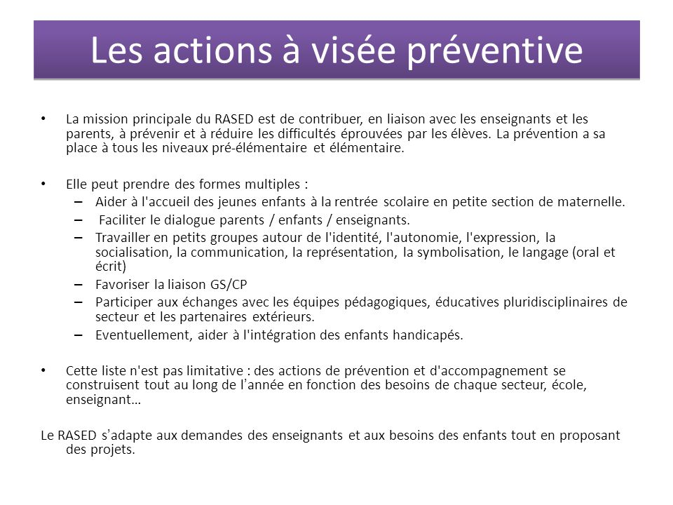 Les actions à visée préventive