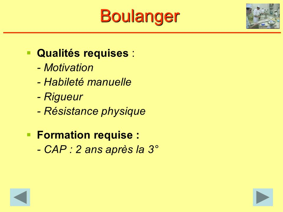 Boulanger Qualités requises : - Motivation - Habileté manuelle