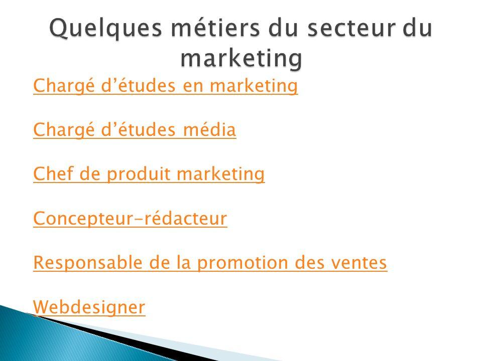 Quelques métiers du secteur du marketing