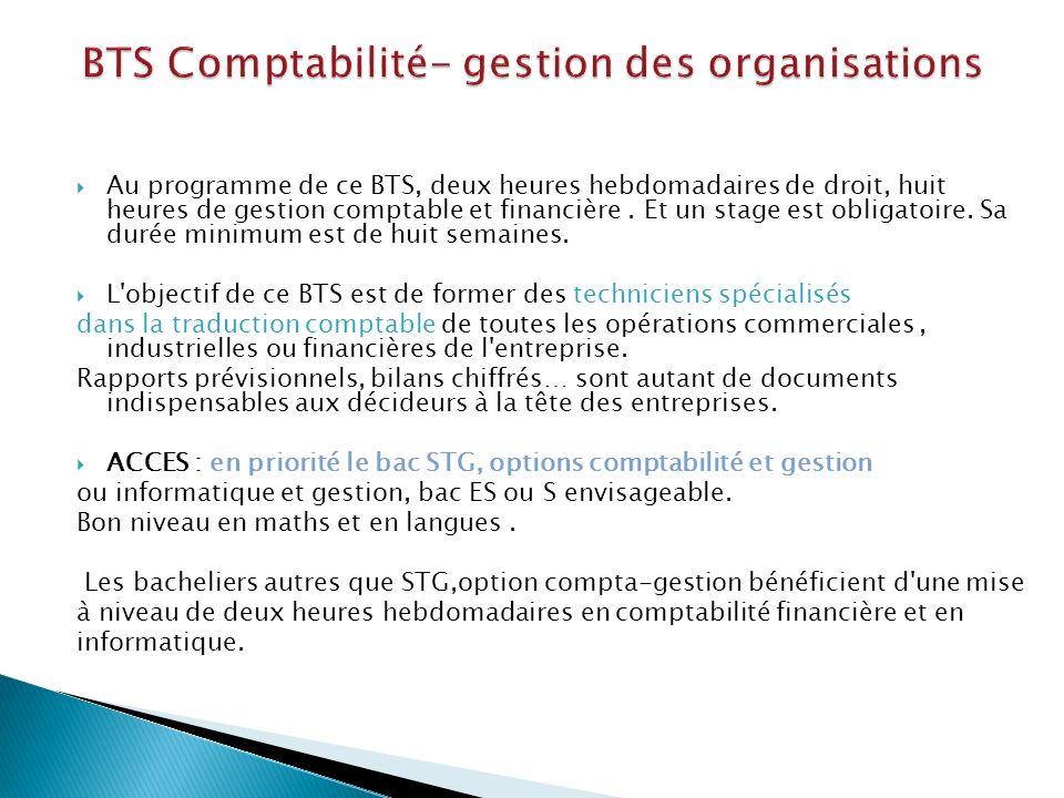 BTS Comptabilité- gestion des organisations