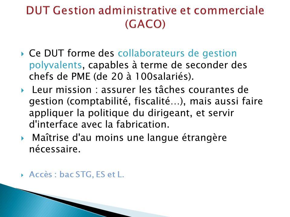 DUT Gestion administrative et commerciale (GACO)
