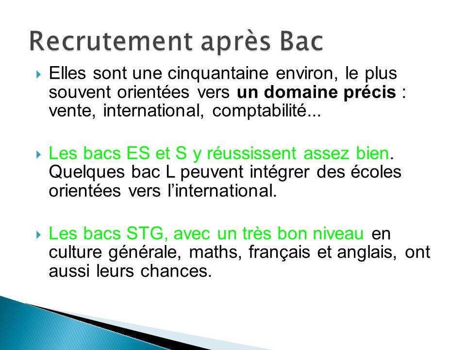 Recrutement après Bac Elles sont une cinquantaine environ, le plus souvent orientées vers un domaine précis : vente, international, comptabilité...
