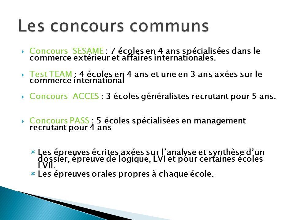 Les concours communs Concours SESAME : 7 écoles en 4 ans spécialisées dans le commerce extérieur et affaires internationales.