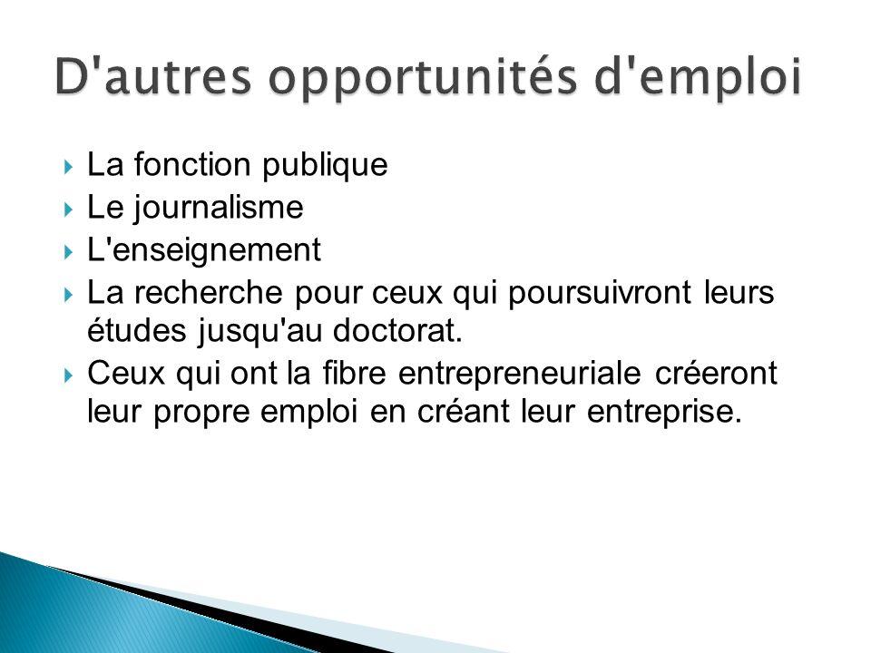D autres opportunités d emploi