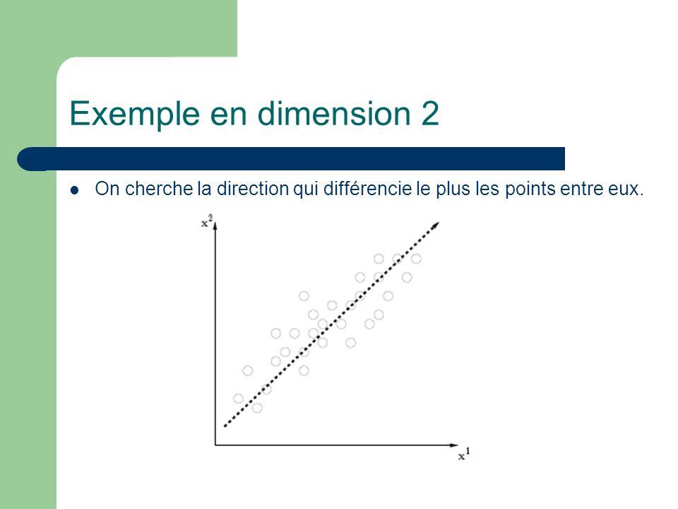 Exemple en dimension 2 On cherche la direction qui différencie le plus les points entre eux.