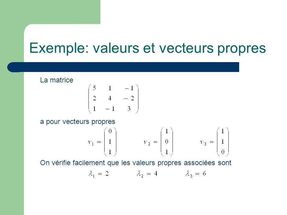 Exemple: valeurs et vecteurs propres