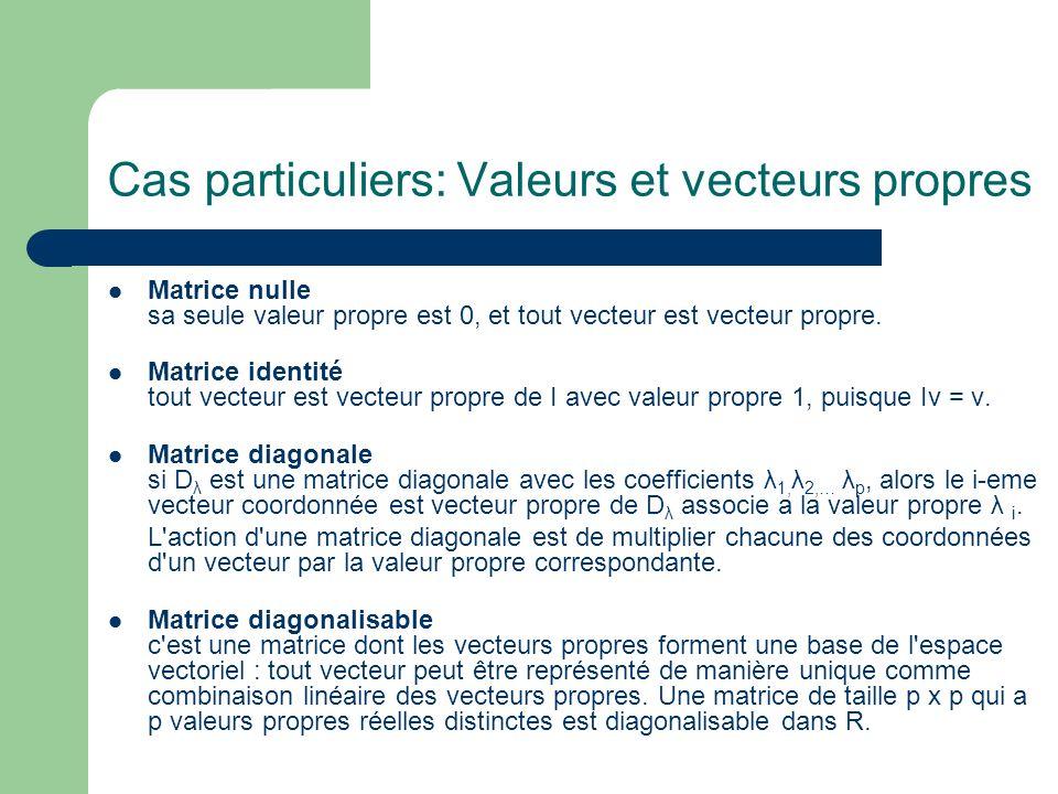 Cas particuliers: Valeurs et vecteurs propres