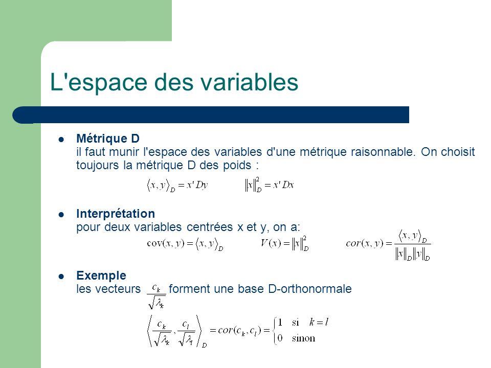 L espace des variablesMétrique D il faut munir l espace des variables d une métrique raisonnable. On choisit toujours la métrique D des poids :