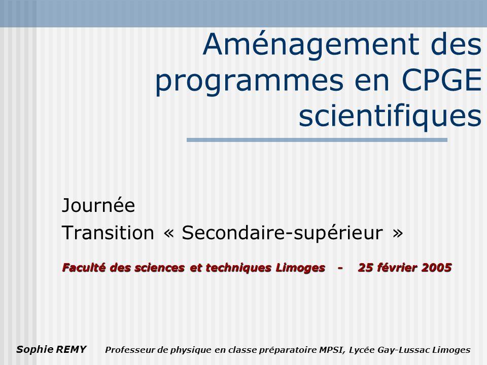 Aménagement des programmes en CPGE scientifiques