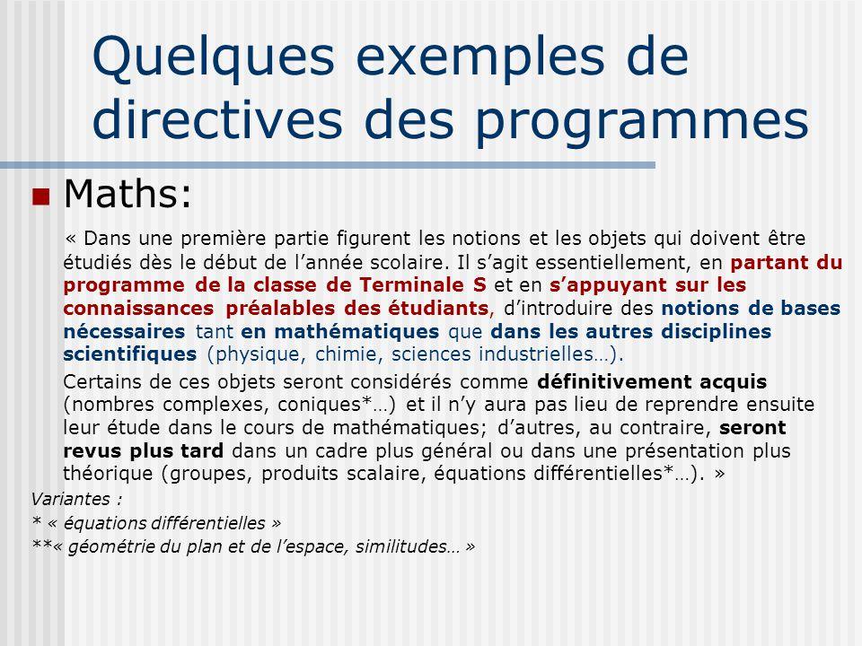 Quelques exemples de directives des programmes