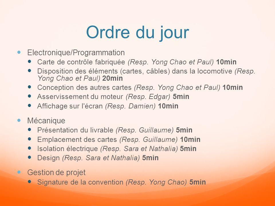 Ordre du jour Electronique/Programmation Mécanique Gestion de projet