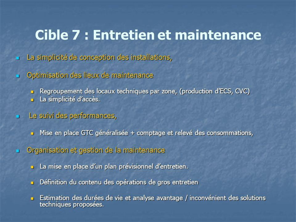 Cible 7 : Entretien et maintenance