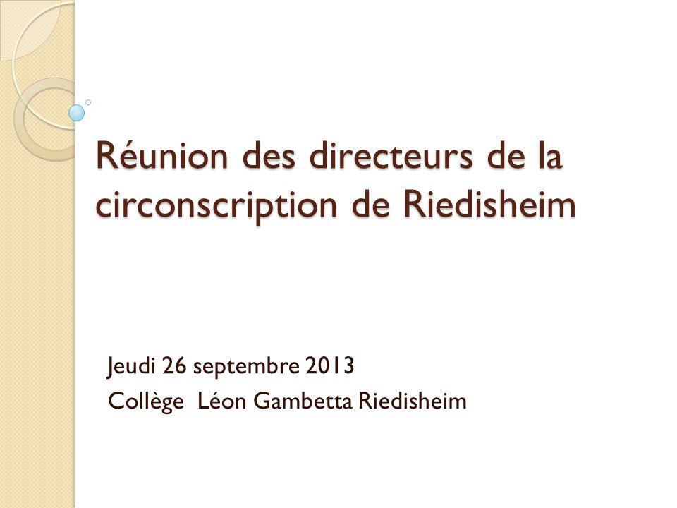 Réunion des directeurs de la circonscription de Riedisheim