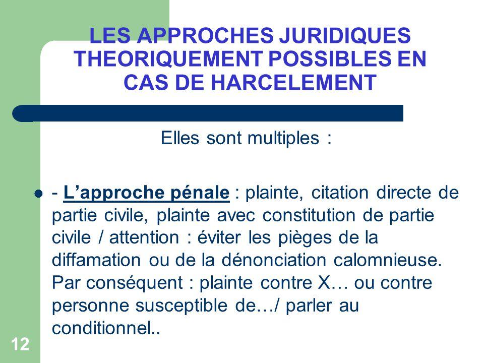 LES APPROCHES JURIDIQUES THEORIQUEMENT POSSIBLES EN CAS DE HARCELEMENT