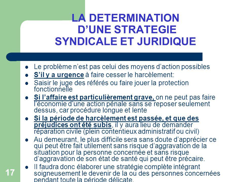 LA DETERMINATION D'UNE STRATEGIE SYNDICALE ET JURIDIQUE
