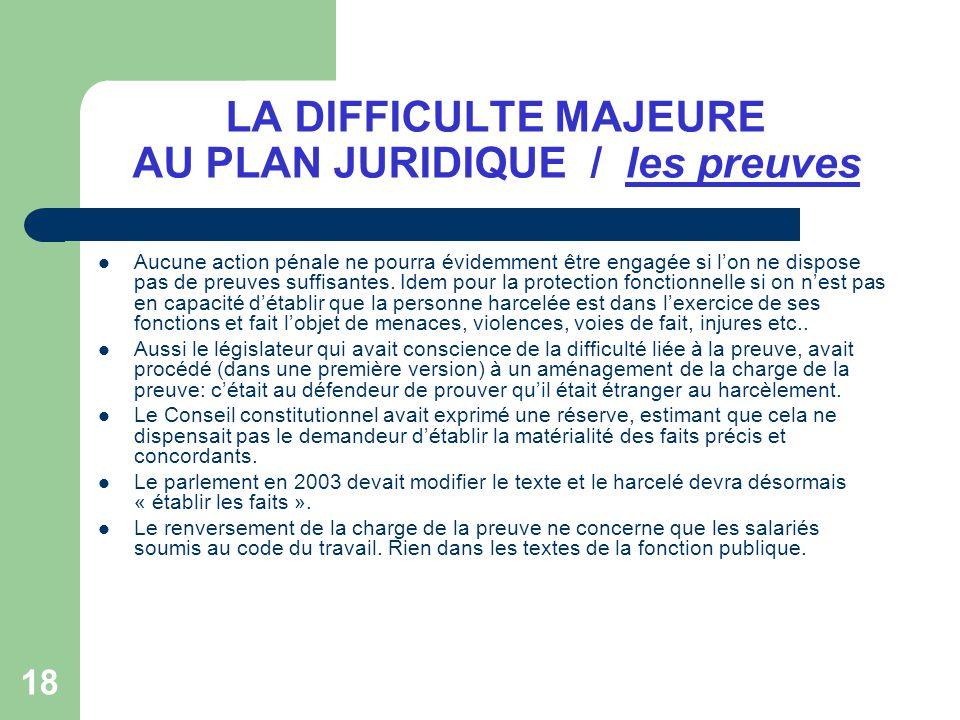 LA DIFFICULTE MAJEURE AU PLAN JURIDIQUE / les preuves