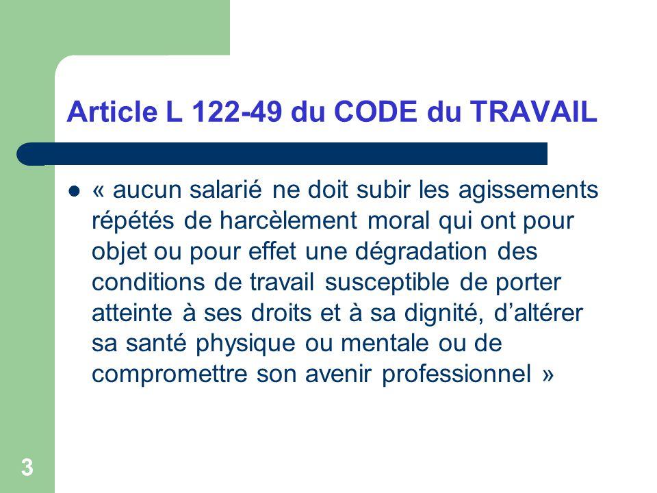 Article L 122-49 du CODE du TRAVAIL