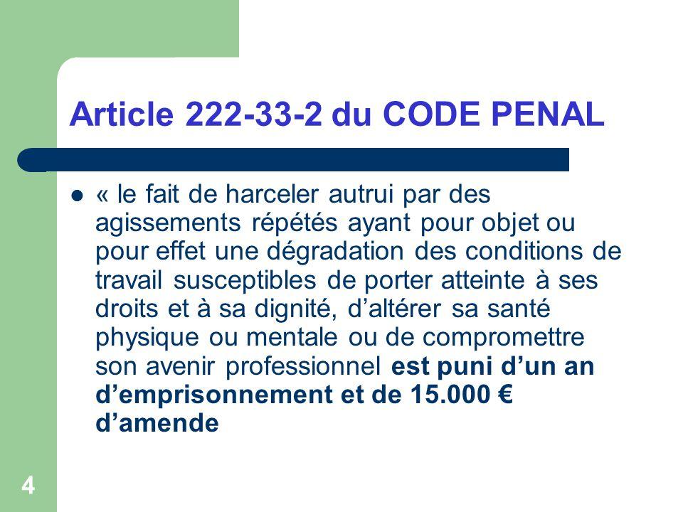 Article 222-33-2 du CODE PENAL