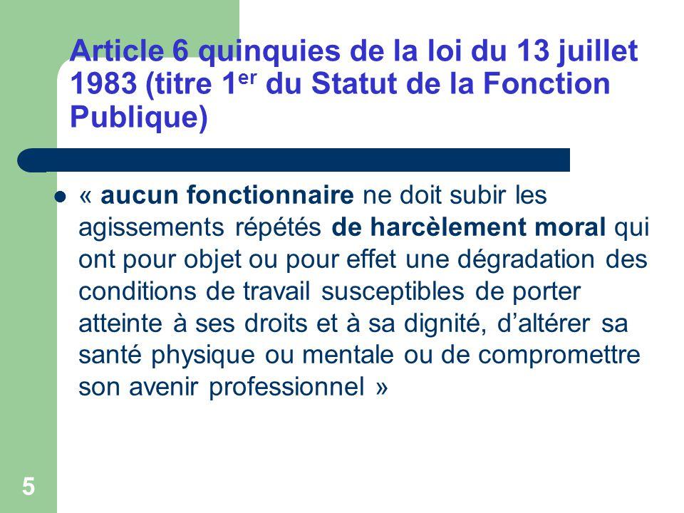 Article 6 quinquies de la loi du 13 juillet 1983 (titre 1er du Statut de la Fonction Publique)