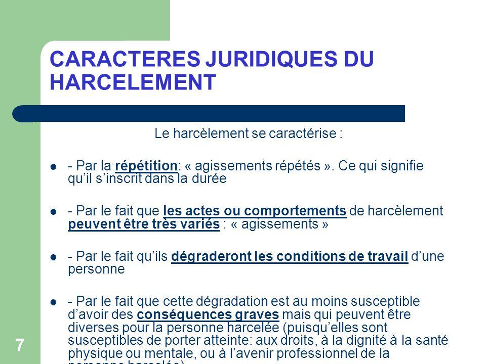 CARACTERES JURIDIQUES DU HARCELEMENT