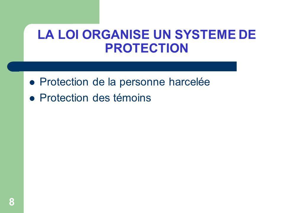 LA LOI ORGANISE UN SYSTEME DE PROTECTION