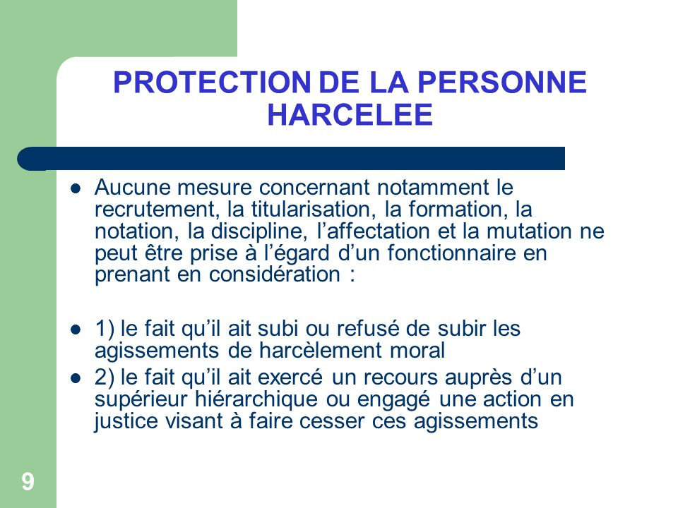 PROTECTION DE LA PERSONNE HARCELEE