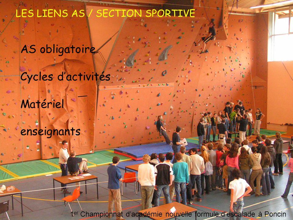 AS obligatoire Cycles d'activités Matériel enseignants