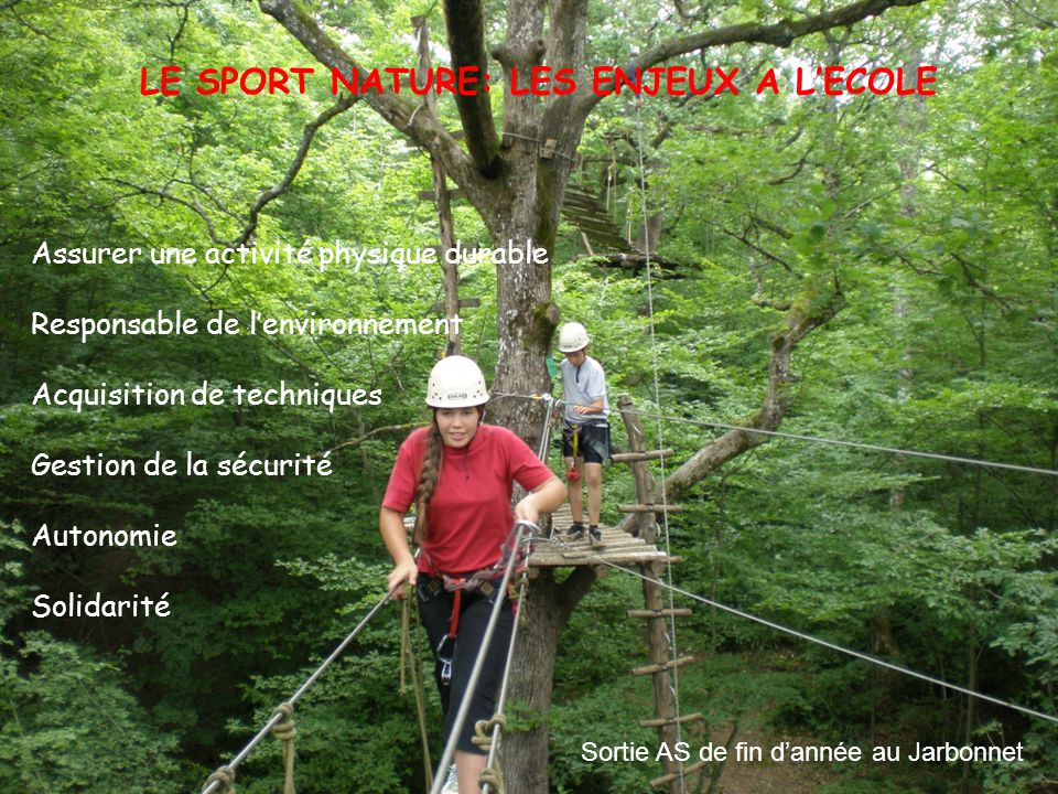 LE SPORT NATURE: LES ENJEUX A L'ECOLE