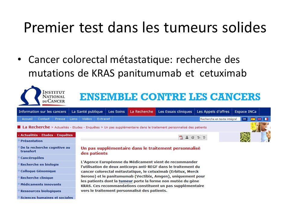 Premier test dans les tumeurs solides