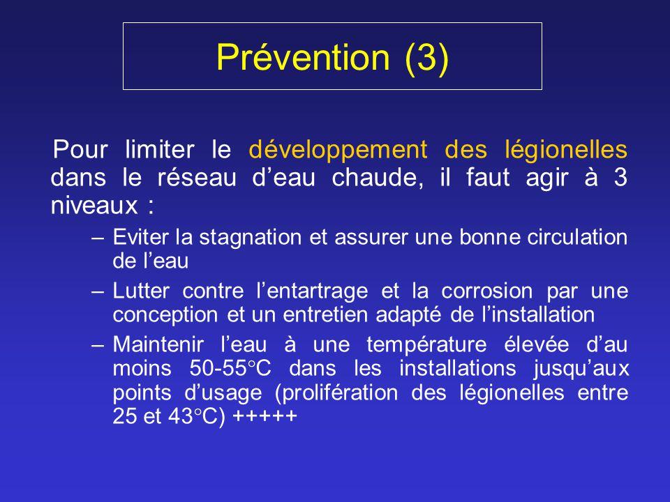 Prévention (3) Pour limiter le développement des légionelles dans le réseau d'eau chaude, il faut agir à 3 niveaux :