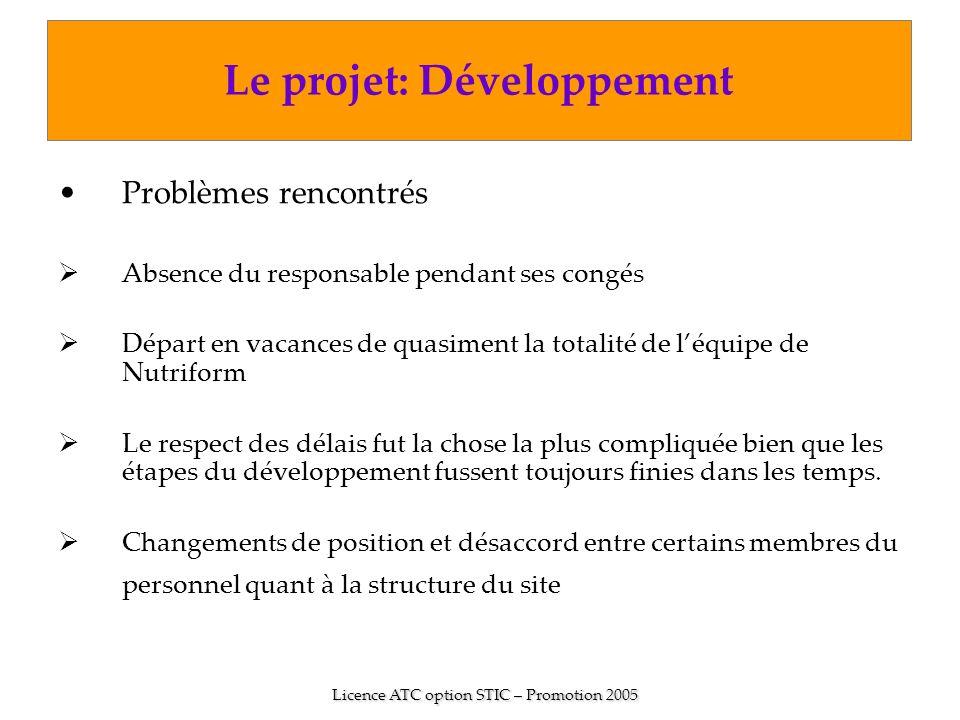 Le projet: Développement