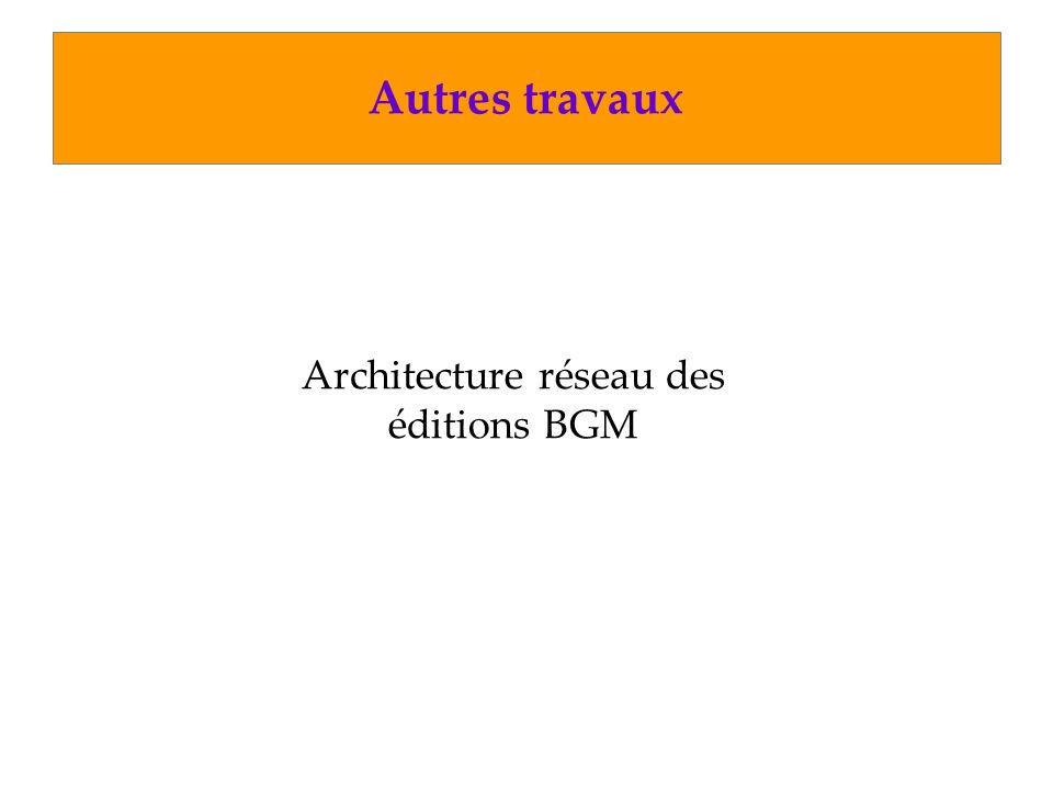 Architecture réseau des éditions BGM