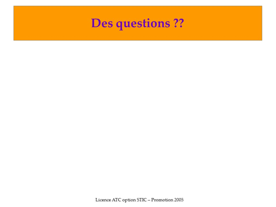 Licence ATC option STIC – Promotion 2005