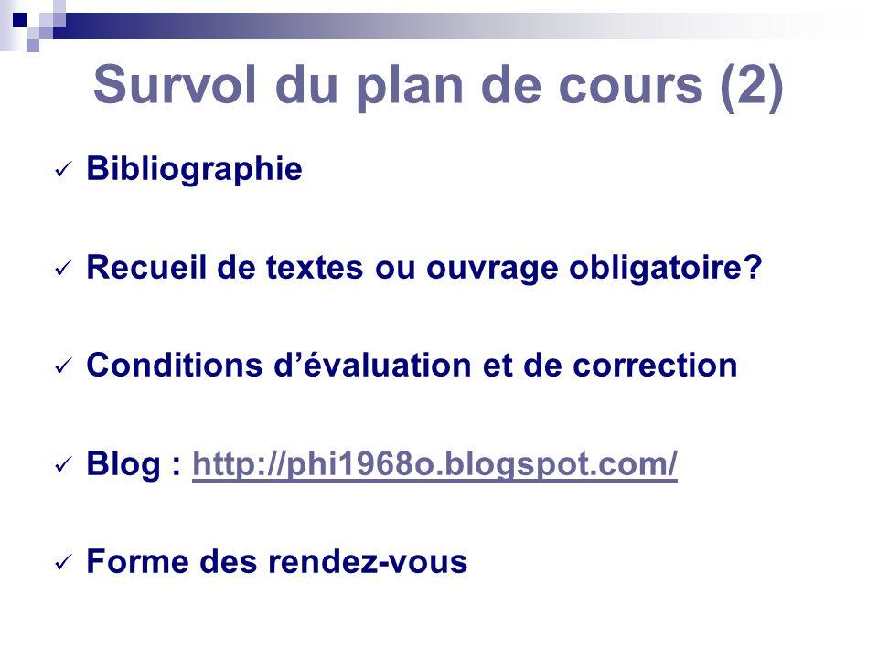 Survol du plan de cours (2)