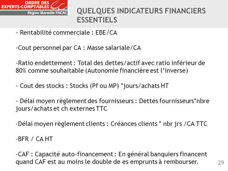 QUELQUES INDICATEURS FINANCIERS ESSENTIELS