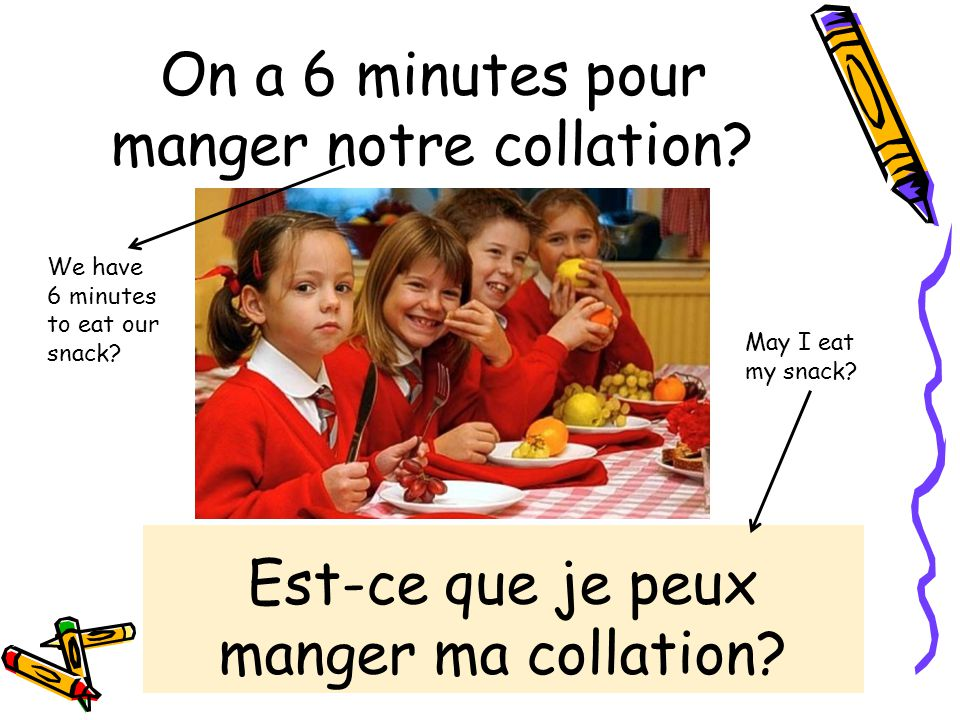 On a 6 minutes pour manger notre collation