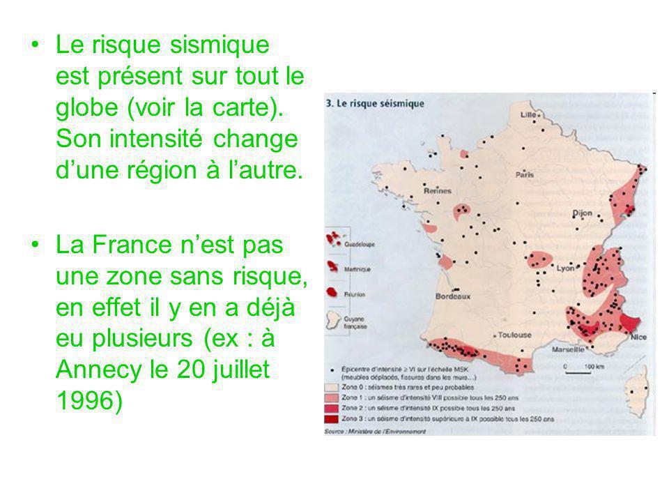 Le risque sismique est présent sur tout le globe (voir la carte)