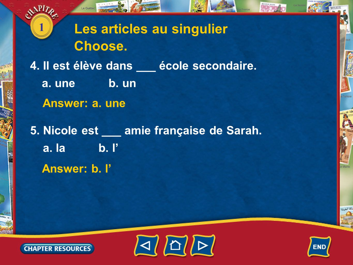 Les articles au singulier Choose.