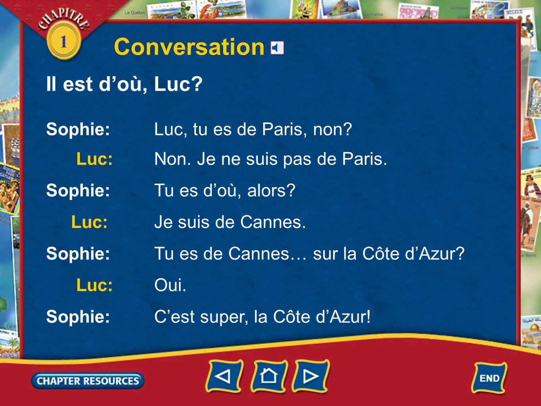 Conversation Il est d'où, Luc 1 Sophie: Luc, tu es de Paris, non