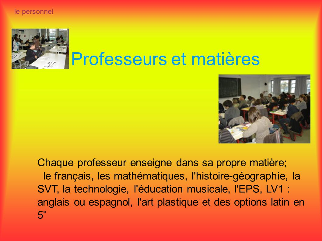 Professeurs et matières